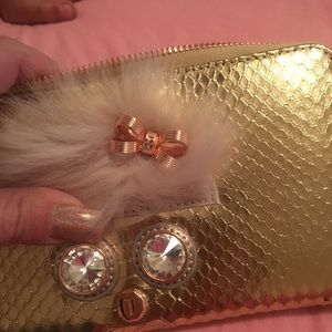 NWT Ted Baker wallet. Gold w/ fur accent. $300